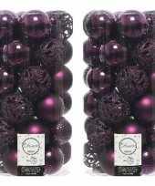 74x aubergine paarse kerstballen 6 cm glanzende matte glitter kunststof plastic kerstversiering