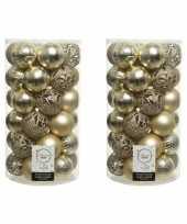 74x champagne beige kerstballen 6 cm kunststof mix