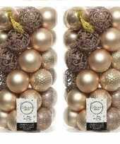 74x donker parel champagne kerstballen 6 cm glanzende matte glitter kunststof plastic kerstversiering