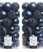 74x donkerblauwe kerstballen 6 cm glanzende matte glitter kunststof plastic kerstversiering