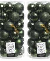 74x donkergroene kerstballen 6 cm glanzende matte glitter kunststof plastic kerstversiering