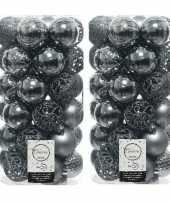 74x grijsblauwe kerstballen 6 cm glanzende matte glitter kunststof plastic kerstversiering