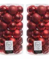 74x kerst rode kerstballen 6 cm glanzende matte glitter kunststof plastic kerstversiering