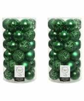 74x kerstgroene kerstballen 6 cm kunststof mix