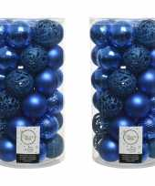 74x kobalt blauwe kerstballen 6 cm kunststof mix