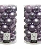 74x lila paarse kerstballen 6 cm kunststof mix