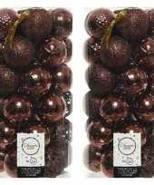 74x mahonie bruine kerstballen 6 cm glanzende matte glitter kunststof plastic kerstversiering