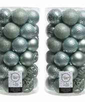 74x mintgroene kerstballen 6 cm glanzende matte glitter kunststof plastic kerstversiering