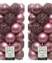 74x oud roze kerstballen 6 cm glanzende matte glitter kunststof plastic kerstversiering