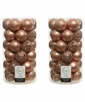 74x zacht terra bruine kerstballen 6 cm kunststof mix