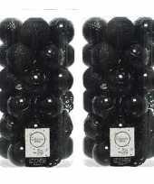 74x zwarte kerstballen 6 cm glanzende matte glitter kunststof plastic kerstversiering