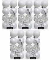 80x winter witte kerstballen 6 cm matte glitter kunststof plastic kerstversiering