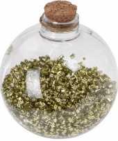 8x doorzichtige fles kerstballen 8 cm glitter goud kunststof kerstversiering