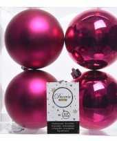 8x fuchsia roze kerstversiering kerstballen kunststof 10 cm