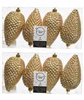 8x gouden kerstballen 12 cm glitter kunststof plastic kerstversiering