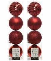 8x kerst rode kerstballen 10 cm glanzende matte glitter kunststof plastic kerstversiering