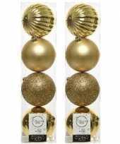 8x licht gouden kerstballen 10 cm glanzende matte glitter kunststof plastic kerstversiering