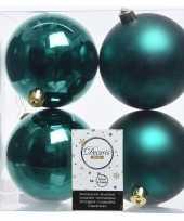 8x smaragd groene kerstversiering kerstballen kunststof 10 cm