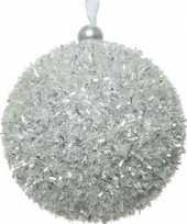 8x zilveren kerstballen 8 cm glitters sneeuwballen kunststof kerstversiering