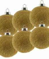 9x gouden cotton balls kerstballen 6 5 cm kerstboomversiering