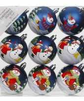 9x kerstballen blauw met print 6 cm voor kinderen