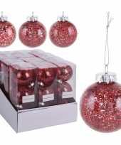 9x rode kerstballen 8 cm glitter kunststof kerstversiering