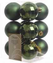 Ambiance christmas groene kerstversiering kerstballen pakket 12 stuks
