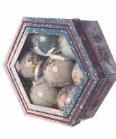 Cadeaubox vintage kerstballen 7 stuks 7 5 cm