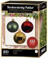 Complete kerstballen set 133x goud donkergroen kerst rood voor 180 cm kerstboom