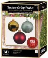 Complete kerstballen set 133x goud donkerrood mintgroen voor 180 cm kerstboom