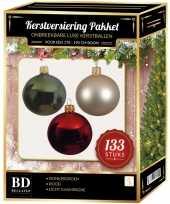 Complete kerstballen set 133x licht parel champagne donkergroen kerst rood voor 180 cm kerstboom