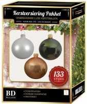Complete kerstballen set 133x wit donker parel champagne donkergroen voor 180 cm kerstboom