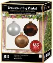 Complete kerstballen set 133x wit donker parel champagne mahonie bruin voor 180 cm kerstboom