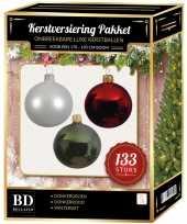 Complete kerstballen set 133x wit donkerrood donkergroen voor 180 cm kerstboom