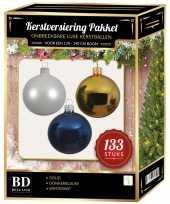 Complete kerstballen set 133x wit goud donkerblauw voor 180 cm kerstboom