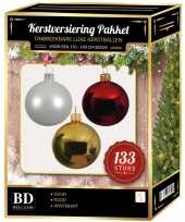Complete kerstballen set 133x wit goud kerst rood voor 180 cm kerstboom