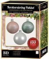 Complete kerstballen set 133x wit mintgroen lichtroze voor 180 cm kerstboom