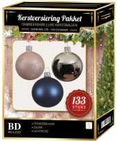 Complete kerstballen set 133x zilver donkerblauw lichtroze voor 180 cm kerstboom