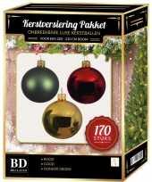 Complete kerstballen set 170x goud donkergroen kerst rood voor 210 cm kerstboom