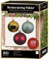 Complete kerstballen set 170x goud donkerrood mintgroen voor 210 cm kerstboom