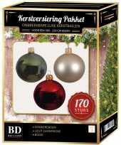 Complete kerstballen set 170x licht parel champagne donkergroen kerst rood voor 210 cm kerstboom