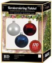 Complete kerstballen set 170x wit donkerblauw kerst rood voor 210 cm kerstboom