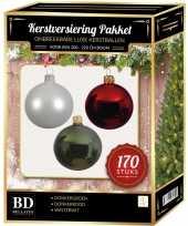 Complete kerstballen set 170x wit donkerrood donkergroen voor 210 cm kerstboom