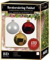 Complete kerstballen set 170x wit goud kerst rood voor 210 cm kerstboom