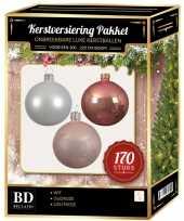 Complete kerstballen set 170x wit lichtroze oud roze voor 210 cm kerstboom