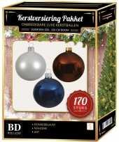 Complete kerstballen set 170x wit mahonie bruin donkerblauw voor 210 cm kerstboom
