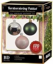Complete kerstballen set 170x zilver donkergroen lichtroze voor 210 cm kerstboom