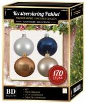 Complete kerstballen set champagne wit blauw voor 210 cm kerstboom