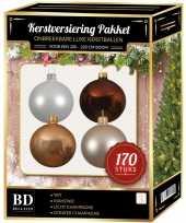 Complete kerstballen set champagne wit bruin voor 210 cm kerstboom