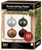 Complete kerstballen set champagne wit donkerrood donkergroen voor 180 cm kerstboom